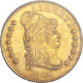 Early Half Eagles, 1806 $5 Round Top 6, 7x6 Stars AU55 PCGS. BD-6, R.2....