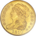 Early Half Eagles, 1810 $5 Large Date, Large 5 MS62 PCGS Secure. BD-4, R.2....