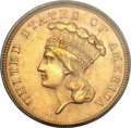 Three Dollar Gold Pieces, 1862 $3 MS62 PCGS Secure....