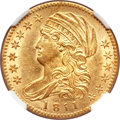 Early Half Eagles, 1811 $5 Small 5 MS60 NGC. BD-2, R.3....