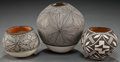 American Indian Art:Pottery, THREE ACOMA BLACK-ON-WHITE JARS... (Total: 3 Items)