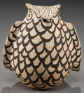 American Indian Art:Pottery, AN ACOMA BLACK-ON-WHITE POTTERY OWL...