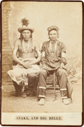 American Indian Art:Photographs, SNAKE AND BIG BELLY, CROW INDIANS, CABINET CARD BY DAVID F. BARRY,BISMARCK, DAKOTA TERRITORY MOUNT...