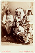 American Indian Art:Photographs, STUDIO PORTRAIT OF SIOUX INDIANS, CABINET CARD BY DAVID F. BARRY,WEST SUPERIOR, WISCONSIN MOUNT...