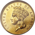 Three Dollar Gold Pieces, 1858 $3 AU58 Prooflike NGC. CAC....