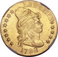 Early Half Eagles, 1798 $5 Large Eagle, Large 8, 13 Star Reverse -- Improperly Cleaned-- NGC Details. AU. BD-4, High R.4....