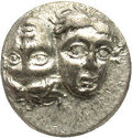 Ancients:Greek, Ancients: Moesia, Istros. Ca. 4th century B.C. AR drachm (16 mm).Facing male heads, the right inverted / Sea-eagle flying left,grasp...