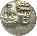 Ancients:Greek, Ancients: Moesia, Istros. Ca. 4th century B.C. AR drachm (17 mm).Facing male heads, the left inverted / Sea-eagle flying left,graspi...