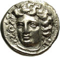 Ancients:Greek, Ancients: Thessaly, Larissa. Ca. 360's-356 B.C. AR drachm (18 mm,5.89 g). Head of the nymph Larissa facing slightly left / Horsestan...