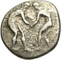 Ancients:Greek, Ancients: Pamphylia, Aspendos. Ca. 400-380 B.C. AR stater (22 mm,10.75 g). Two wrestlers grappling / Slinger to right; triskeles inf...