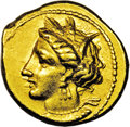 Ancients:Greek, Ancients: Zeugitania, Carthage. Ca. 350-320 B.C. AV stater (17 mm,9.08 g). Wreathed head of Tanit left / Horse standing right onsing...