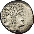 Ancients:Roman, Ancients: Anonymous. Ca. 225-212 B.C. AR Didrachm (18 mm, 5.69 g).Laureate head of Janus / Jupiter in quadriga driven by Victoryrigh...