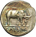 Ancients:Roman, Ancients: Julius Caesar. 49-48 BC. AR Denarius (19 mm, 3.66 g).Military mint traveling with Caesar. Elephant right, trampling onserp...