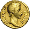 Ancients:Roman, Ancients: Augustus. 27 B.C.-A.D. 14. AV aureus (19 mm, 7.67 g).Lugdunum, 15 B.C. Laureate head right / Emperor seated left on aplatf...
