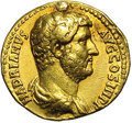Ancients:Roman, Ancients: Hadrian. A.D. 117-138. AV aureus (20 mm, 7.11 g). Rome,ca. A.D. 134-138. Bare-headed and draped bust right / Jupiterseated...