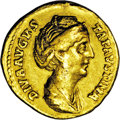 Ancients:Roman, Ancients: Faustina I, wife of Antoninus Pius. AV aureus (19 mm,7.09 g). Rome, posthumously, ca. A.D. 141-146. Draped bust right /Hex...
