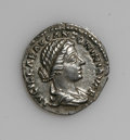 Ancients:Roman, Ancients: Lucilla, wife of Lucius Verus. AR denarius (17 mm, 3.17g). Rome, A.D. 161-162. Draped bust right / Juno standing left,reac...