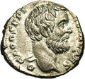 Ancients:Roman, Ancients: Clodius Albinus. A.D. 195-197. AR denarius (18 mm, 3.09g). Rome, as Caesar, A.D. 194-195. Bare head right / Felicitasstand...