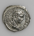 Ancients:Roman, Ancients: Caracalla. A.D. 198-217. AR denarius (19 mm, 3.70 g).Rome, A.D. 205. Laureate and draped bust right / Salus seated left,fe...