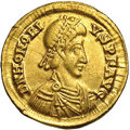 Ancients:Roman, Ancients: Honorius. A.D. 393-423. AV solidus (20 mm, 4.48 g).Ravenna, A.D. 402-408. Diademed, draped and cuirassed bust right /Emper...