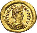 Ancients:Roman, Ancients: Theodosius II. A.D. 402-450. AV tremissis (15 mm, 1.45g). Constantinople, A.D. 408-419. Diademed, draped and cuirassedbust...