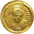 Ancients:Roman, Ancients: Theodosius II. A.D. 402-450. AV solidus (21 mm).Constantinople, A.D. 425-429. Diademed, helmeted and cuirassed bustfacing ...