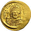 Ancients:Byzantine, Ancients: Justinian I. A.D. 527-565. AV solidus (20 mm, 4.45 g).Constantinople, A.D. 545-565. Diademed, helmeted and cuirassed bustf...