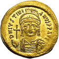 Ancients:Roman, Ancients: Justinian I. A.D. 527-565. AV solidus (20 mm, 4.45 g).Constantinople, A.D. 545-565. Diademed, helmeted and cuirassed bustf...
