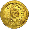 Ancients:Byzantine, Ancients: Maurice Tiberius. A.D. 582-602. AV solidus (21 mm, 4.40g). Constantinople. Helmeted and cuirassed bust facing, holdingglob...