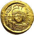 Ancients:Byzantine, Ancients: Maurice Tiberius. A.D. 582-602. AV solidus (21 mm, 4.44g). Constantinople. Helmeted and cuirassed bust facing, holdingglob...