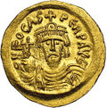 Ancients:Byzantine, Ancients: Phocas. A.D. 602-610. AV solidus (20 mm, 4.48 g).Constantinople, A.D. 602/3. Crowned facing bust, holding globuscruciger; ...