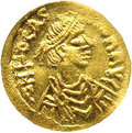 Ancients:Byzantine, Ancients: Phocas. A.D. 602-610. AV tremissis (14 mm).Constantinople. Diademed, draped and cuirassed bust right / Crosspotent; CONOB....