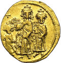 Ancients:Byzantine, Ancients: Heraclius, with Heraclius Constantine and Heraclonas.A.D. 610-641. AV solidus (20 mm, 4.20 g). Constantinople, ca. A.D.632...