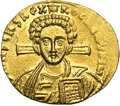 Ancients:Byzantine, Ancients: Justinian II. Second reign, A.D. 705-711. AV solidus (20mm, 4.44 g). Constantinople, A.D. 705. Facing bust of Christ,raisi...