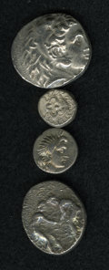 Ancient Lots, Ancient Lots: Lot of four miscellaneous Greek silver coins.Includes: Macedonian Kingdom. Alexander III. Tetradrachm. VF,obverse off cent... (Total: 4 coins Item)