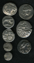 Ancient Lots, Ancient Lots: Lot of eight Greek silver coins from Macedon andnorthern Greece. Includes: Macedonian Kingdom. Alexander III.Drachm. Fine ... (Total: 8 coins Item)