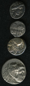 Ancient Lots, Ancient Lots: Lot of four Greek silver coins. Includes: MacedonianKingdom. Philip III. Tetradrachm. VF // Moesia, Istros. Drachm.Fine //... (Total: 4 coins Item)