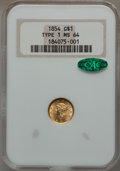 Gold Dollars, 1854 G$1 Type One MS64 NGC. CAC....