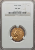 Indian Half Eagles, 1908-S $5 AU58 NGC....