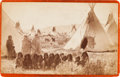 Photographs, VIEW OF ARAPAHO CAMP, CABINET CARD BY BAKER & JOHNSTON, EVANSTON, WYOMING...