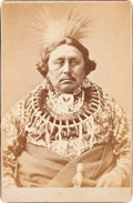 American Indian Art:Photographs, BAPTISTE DEROIN, OTO TRIBE, CABINET CARD BY JOHN K. HILLERS...