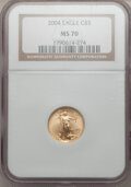 Modern Bullion Coins, 2004 G$5 Tenth-Ounce Gold Eagle MS70 NGC. NGC Census: (3719). PCGSPopulation (240). Numismedia Wsl. Price for problem fre...