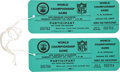 Football Collectibles:Tickets, 1967 Super Bowl I Unused Participant's Passes Lot of 2 - With Provenance from Coliseum Staffer!...