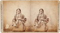 American Indian Art:Photographs, PORTRAIT OF SIOUX WOMAN, STEREOVIEW BY STANLEY J. MORROW, YANKTON, D.T....