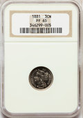 Proof Three Cent Nickels: , 1881 3CN PR65 NGC. NGC Census: (286/297). PCGS Population(325/307). Mintage: 3,575. Numismedia Wsl. Price for problemfree...