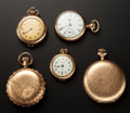 Timepieces:Other , Three Pocket Watches & Two Pendant Watches. ... (Total: 5 Items)