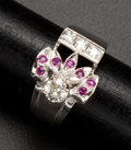 Estate Jewelry:Rings, Diamond & Gold Ruby Ring. ...