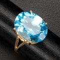 Estate Jewelry:Rings, Blue Topaz & Gold Ring. ...