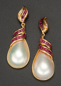 Striking Mabe Pearl & Ruby Diamond Gold Earrings