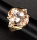 Estate Jewelry:Rings, Citrine & Diamond Gold Ring. ...